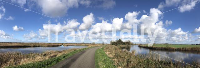 Panorama from a road through the nature around Nijetrijne in Friesland, The Netherlands