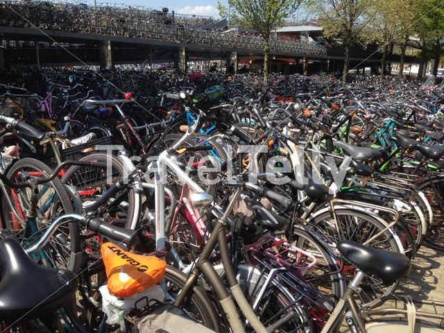 Bicycles at Amsterdam Central Station in The Netherlands