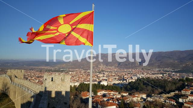 Macedonian flag at Car Samoil's Fortress in the old town of Ohrid Macedonia