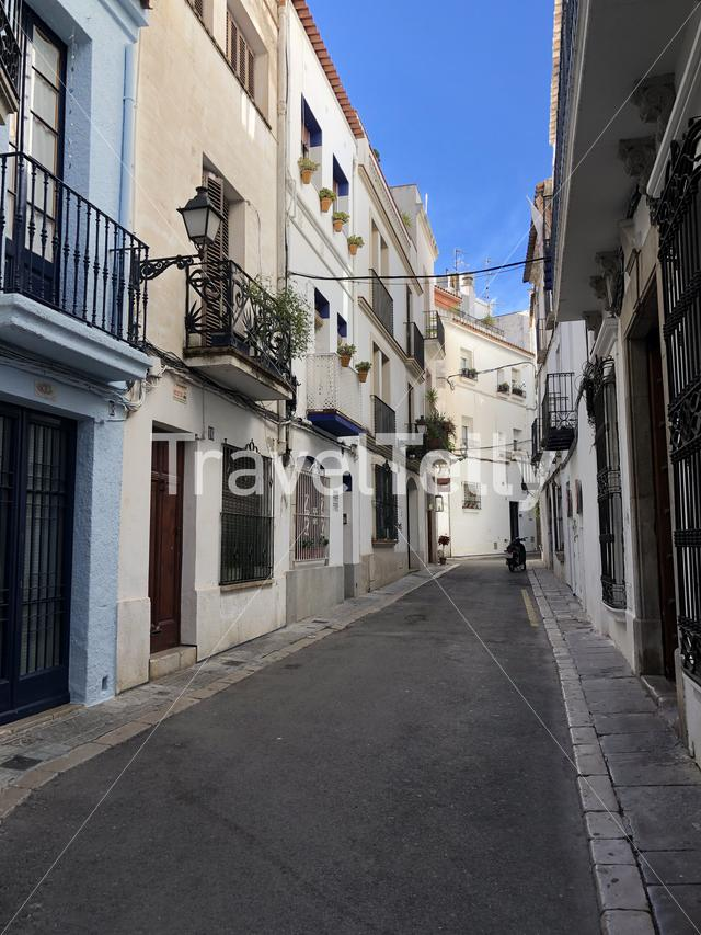 Street in the old town of Sitges, Spain