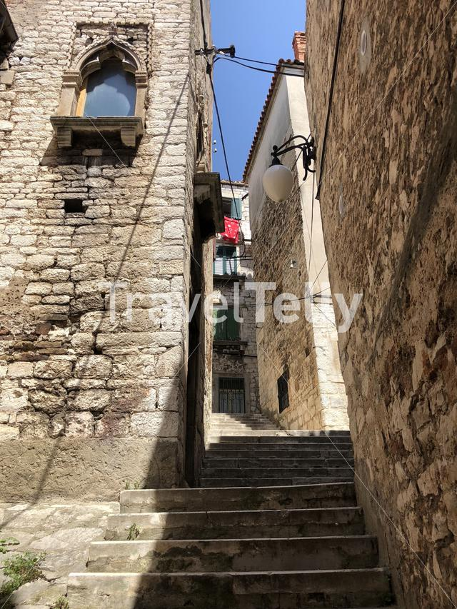 Stairs in the old town of Sibenik, Croatia
