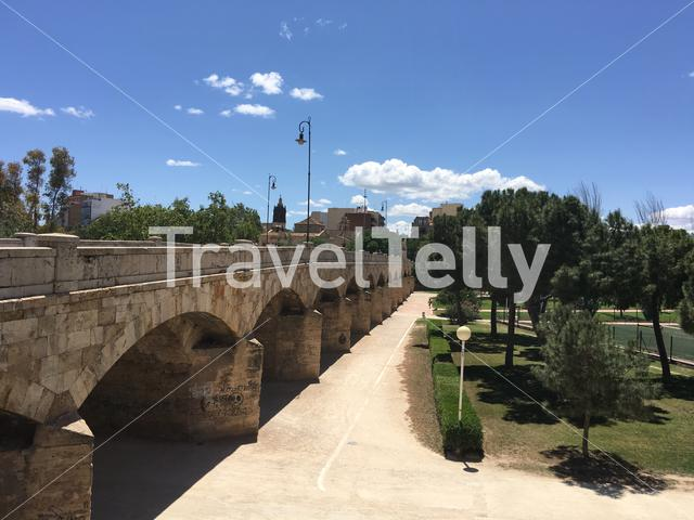 Pont de Sant Josep Segle XVI at the Turia Gardens in Valencia Spain
