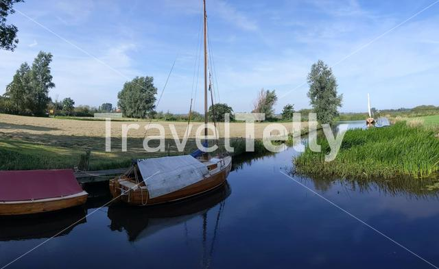 Sailboats in a canal around Langelille, Friesland The Netherlands
