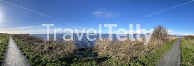 Panorama from a path around the Sneekermeer around Goingarijp in Friesland The Netherlands