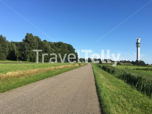 The road to the telecommunication tower in Spannenburg Friesland The Netherlands