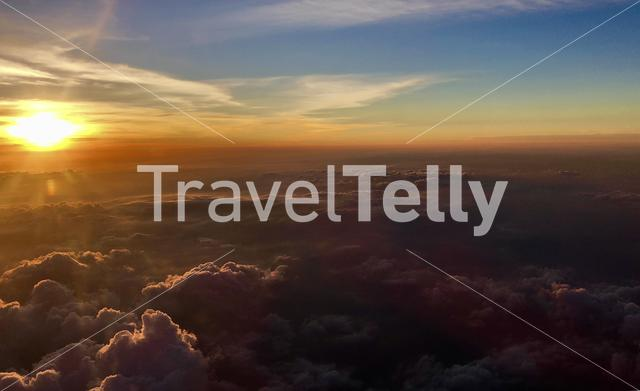 Flying over Thailand during sunset