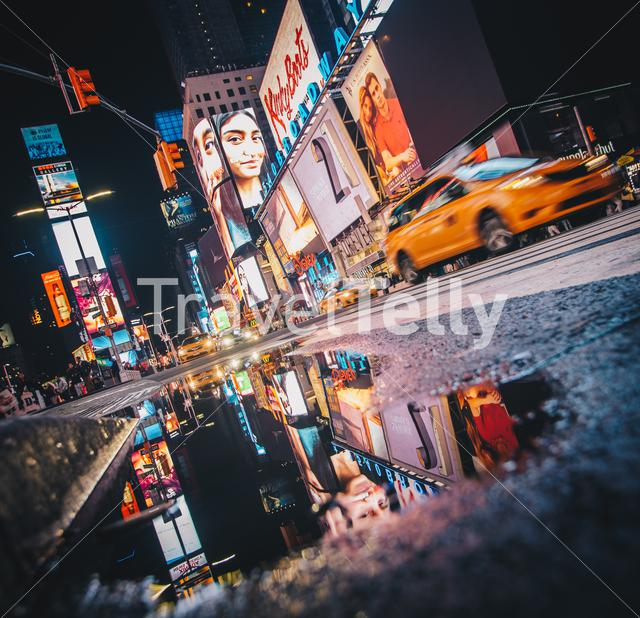 Reflection photo of Time Square, New York. After a lot of rain I made this photo.