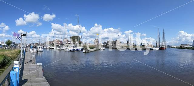 Canal lock panorama in Lemmer, Friesland The Netherlands