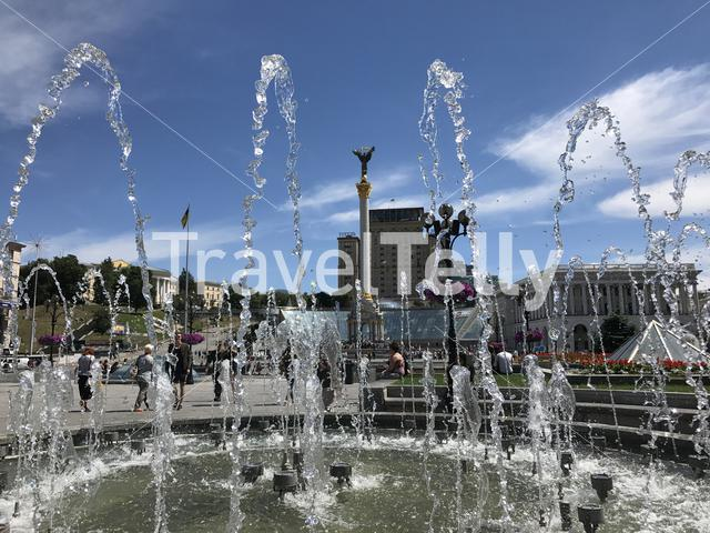 Fountain at the Independence Square in Kiev Ukraine
