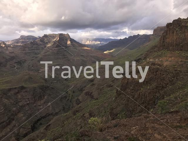 Landscape from the Degollada de las Yeguas lookout point in south Gran Canaria