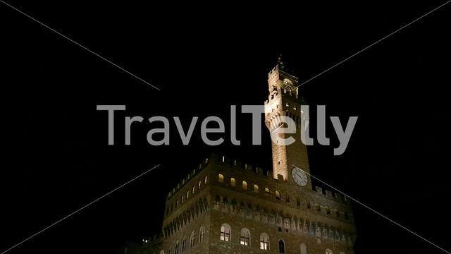 The Palazzo Vecchio is the town hall of Florence, Italy at night