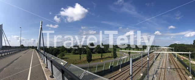 Panorama from a bridge over a train track in Zevenaar in The Netherlands