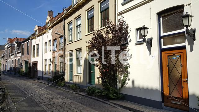 Houses and the Diesertraat in Zutphen The Netherlands