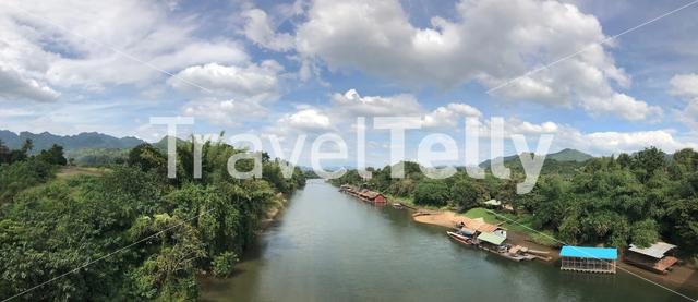 Panorama from the River Kwai in Amphoe Sai Yok, Kanchanaburi  Thailand