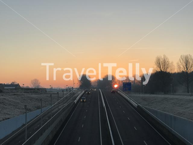 Sunrise above the highway in Sneek The Netherlands