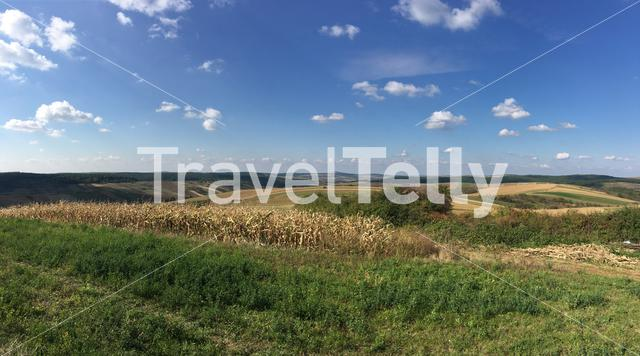 Farmland landscape panorama around Oradea Romania