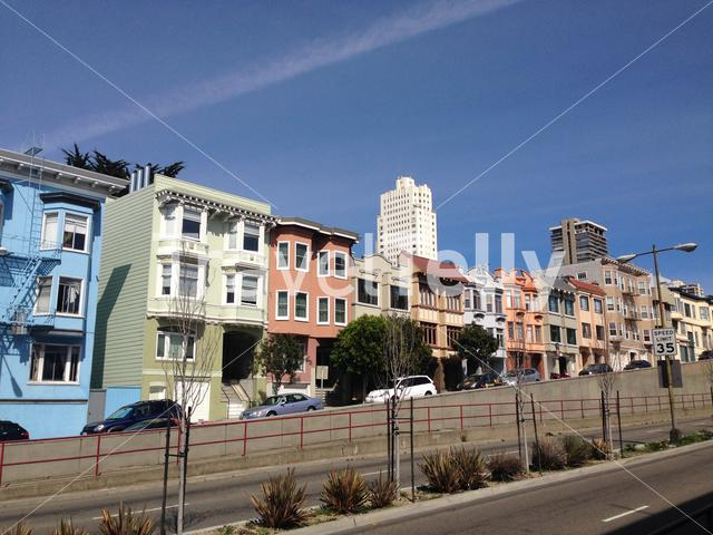 Broadway street with Colourful houses in San Francisco, United States