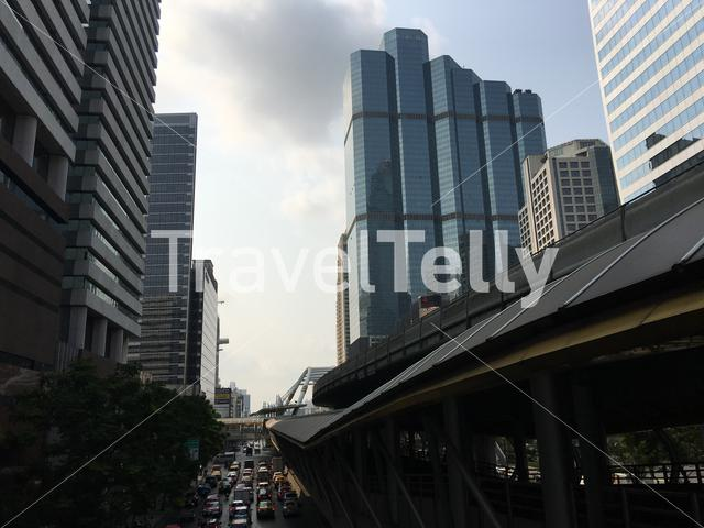 Skyscrapers and a busy road at the Sathon district in central Bangkok, Thailand