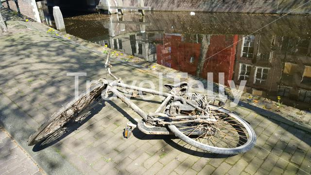 Bicycle saved on the quay from the Gouda canal