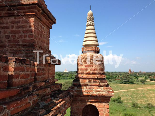 View from the Myauk Guni temple in Bagan Myanmar