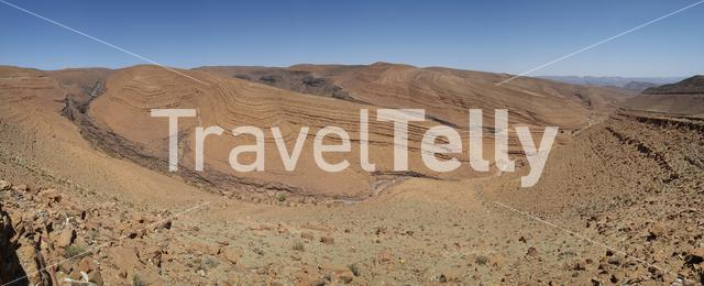 Panorama from a rock formation landscape in the desert of Morocco