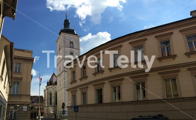 Panorama from the street in the old town towards the St. Mark's Church in Zagreb Croatia