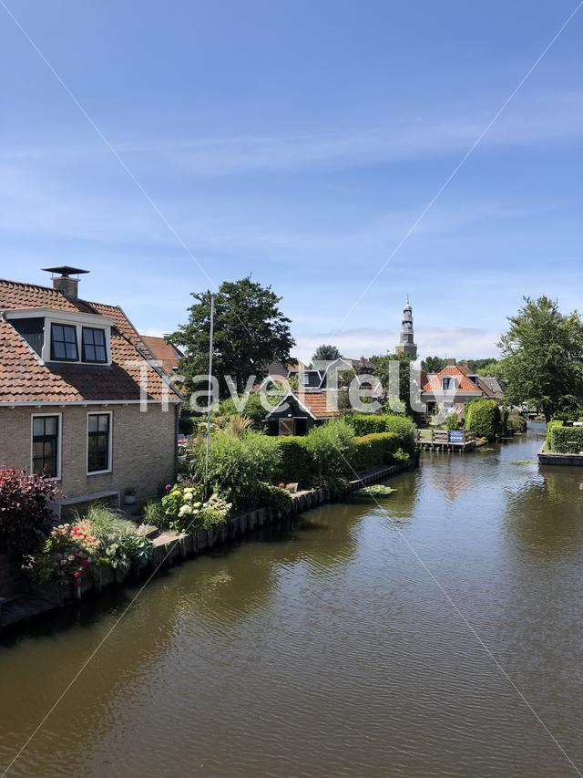 Canal in Hindeloopen, Friesland The Netherlands