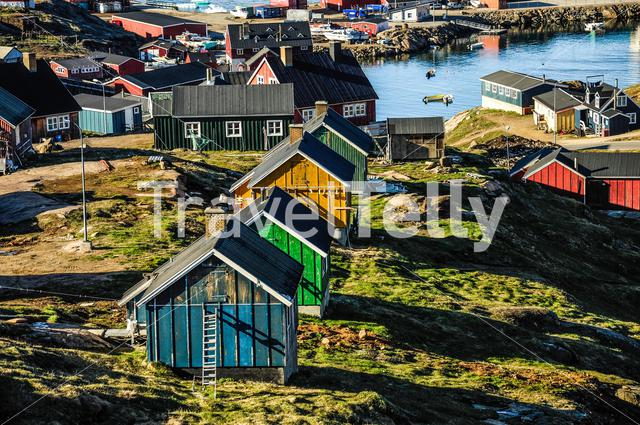 Houses in the town Tasiilaq at the southeastern part of Greenland