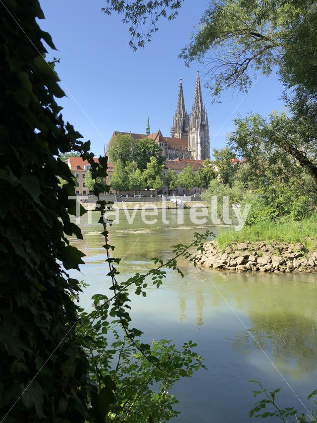 St Peter Cathedral on the Danube river in Regensburg, Germany