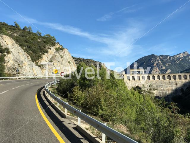 Passing by the dam from El Segre in Spain