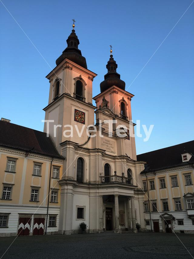The church of Kremsmünster Abbey on a September evening.