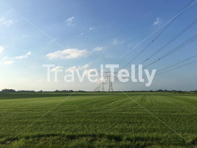 Electricity poles in Friesland The Netherlands