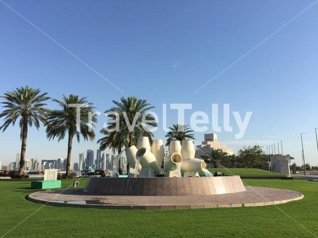 Fountain located along the Dhow Harbour on the Corniche in Doha Qatar