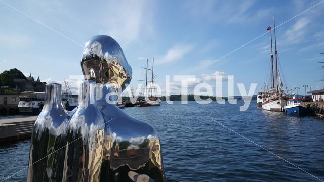 The Silver Scuba Diver In The Harbor Of Oslo Norway