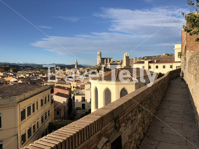 View from the city wall of Girona in Spain