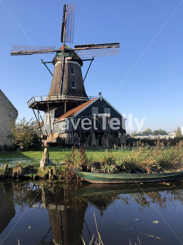 The windmill in IJlst during autumn in Friesland, The Netherlands
