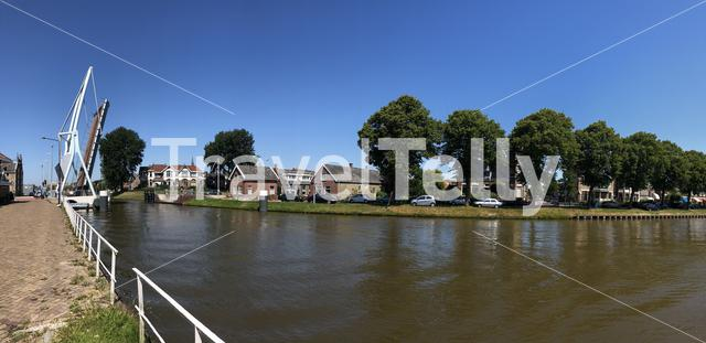 Panorama from a canal around Franeker, Friesland The Netherlands