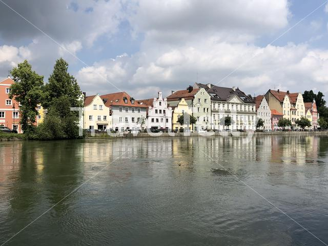 Houses on the Kleine Isar river in landshut Germany