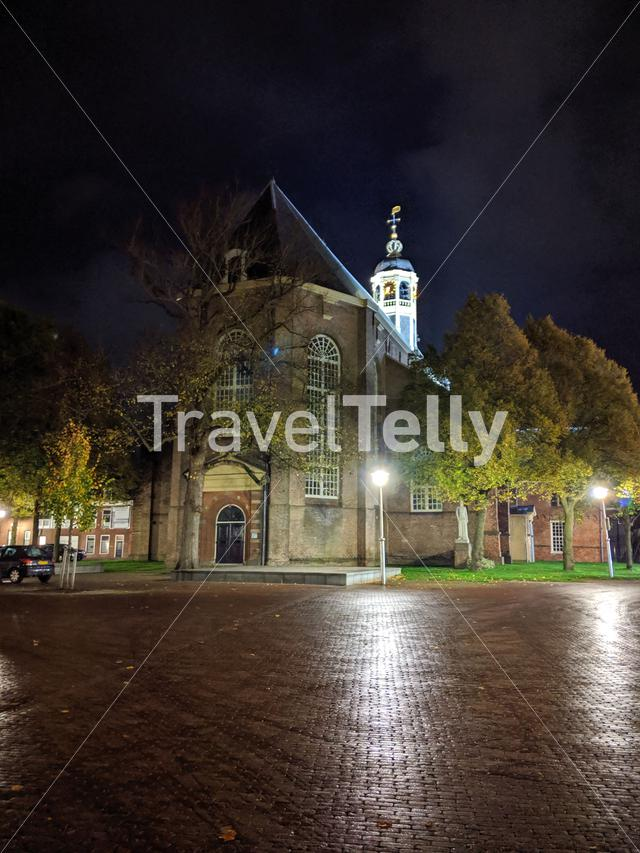 Martini church at night in Sneek, The Netherlands