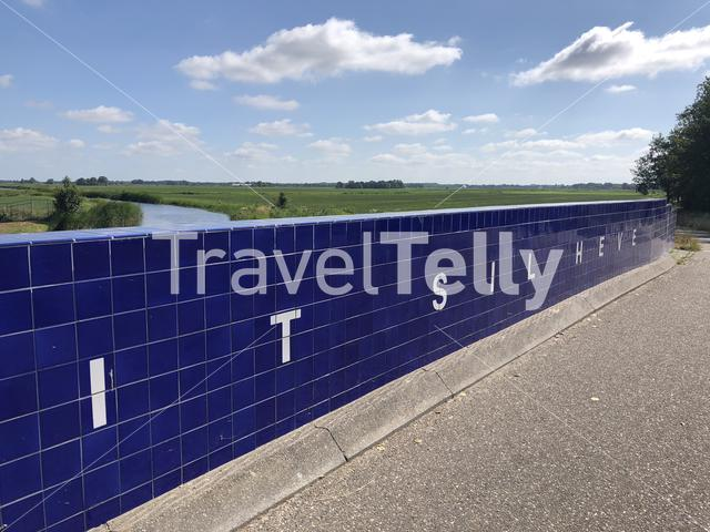 It sil heve text on the Elfstedenmonument bridge   in Friesland The Netherlands