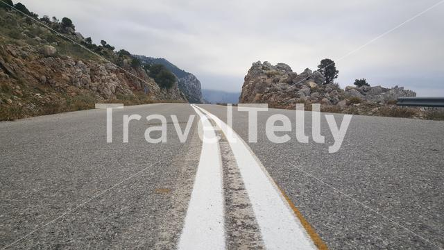 Road lines around Paralia Metochiou in Greece