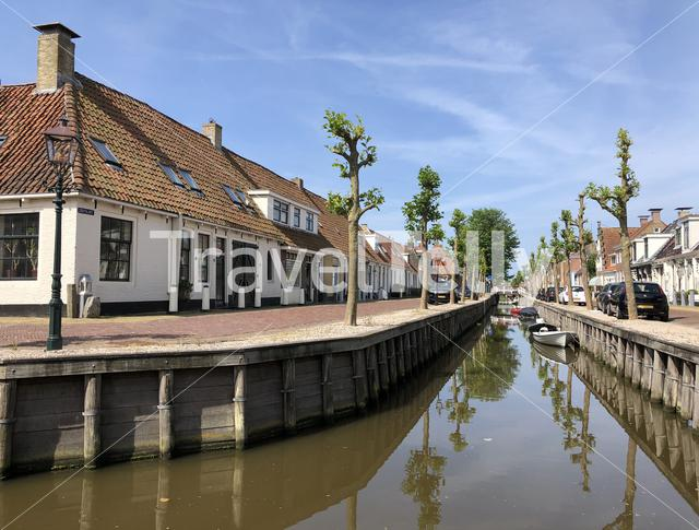 Canal in Harlingen, Friesland The Netherlands