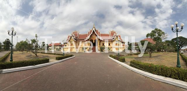Panorama from a Buddhist Temple next to the Pha That Luang in Vientiane Laos