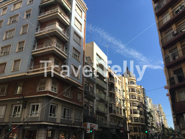 Architecture at the Carrer de Sant Vicent Martir street in Valencia Spain