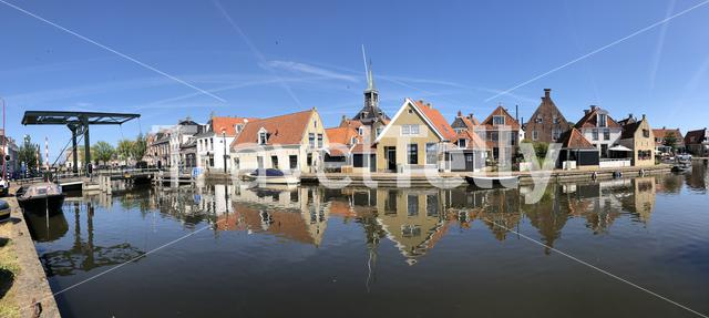 Panorama from the old town of Makkum, Friesland, The Netherlands