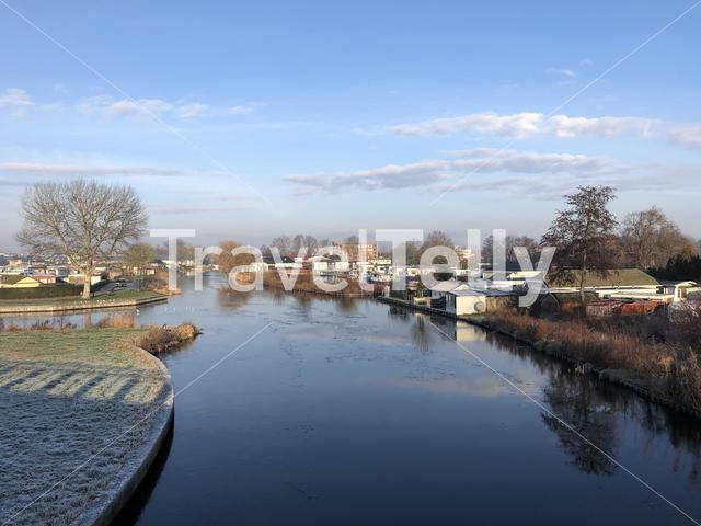 Canal during winter in Sneek The Netherlands