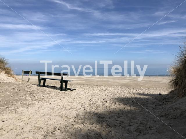 Bench on the beach of Ameland island in Friesland The Netherlands