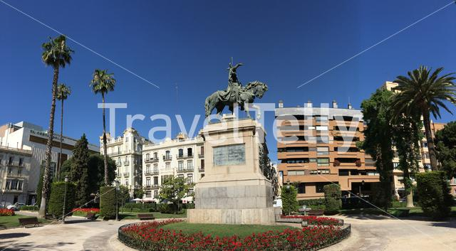 Panorama from King James I statue at the Garden of the Paterre in Valencia Spain
