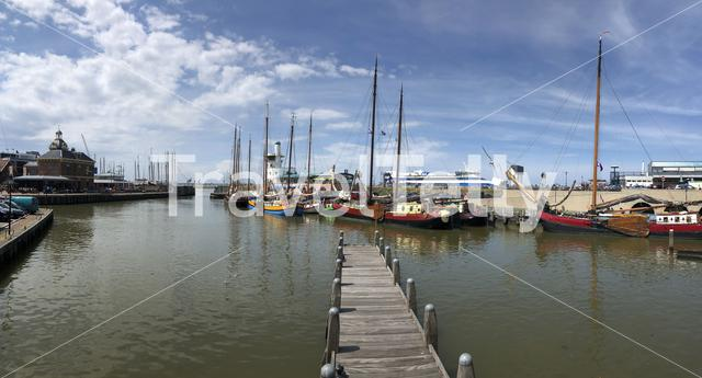 Panorama from the Oude buitenhaven in Harlingen, Friesland The Netherlands