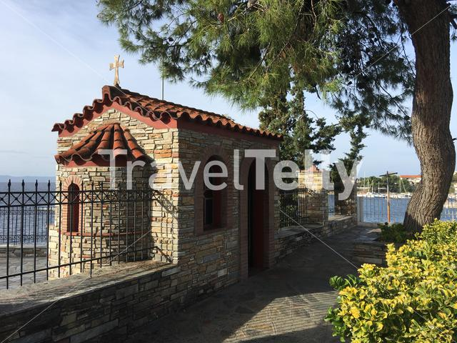 Entrance from the church in Neos Marmaras Greece